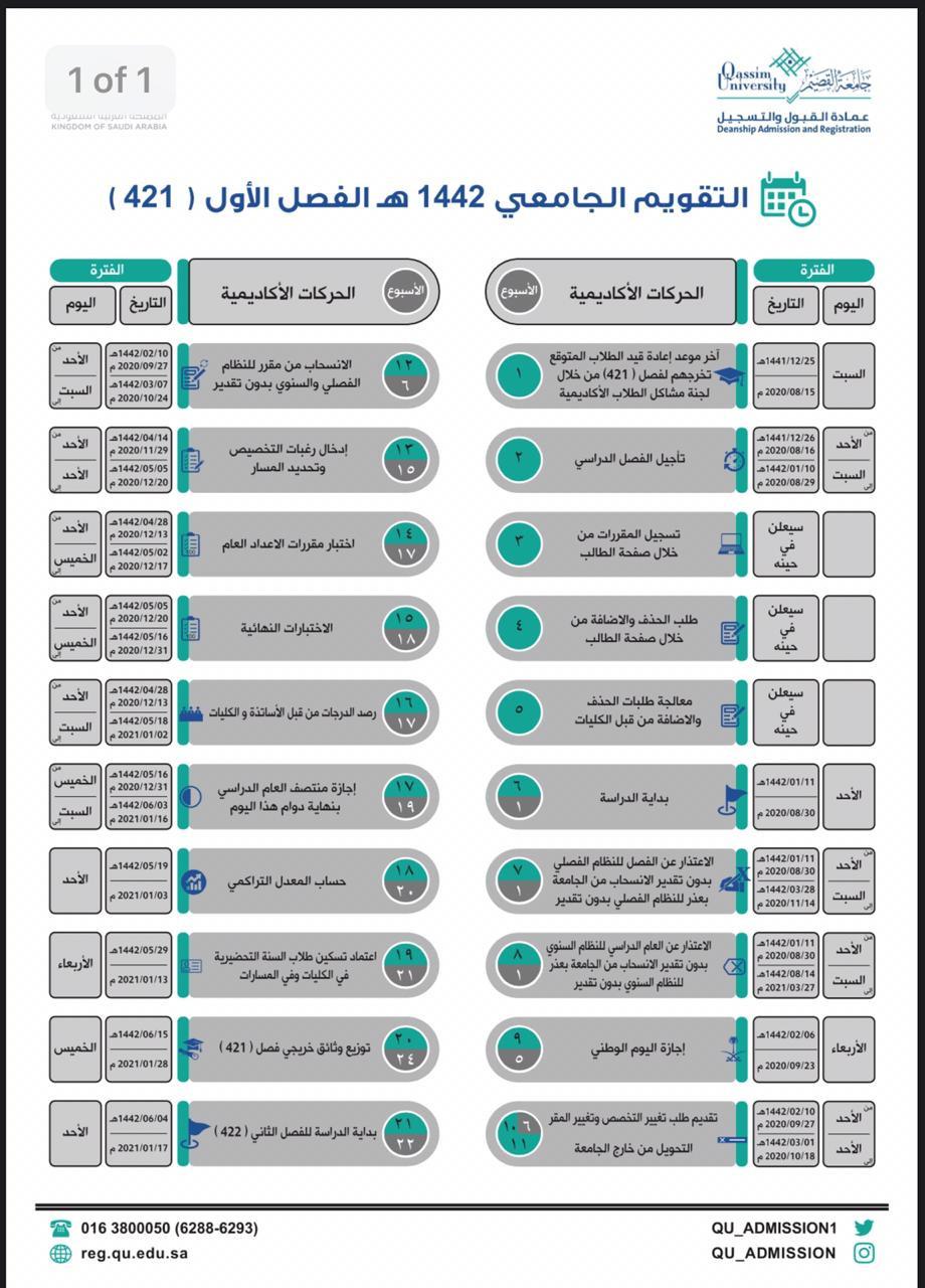 التقويم الجامعي جامعة القصيم